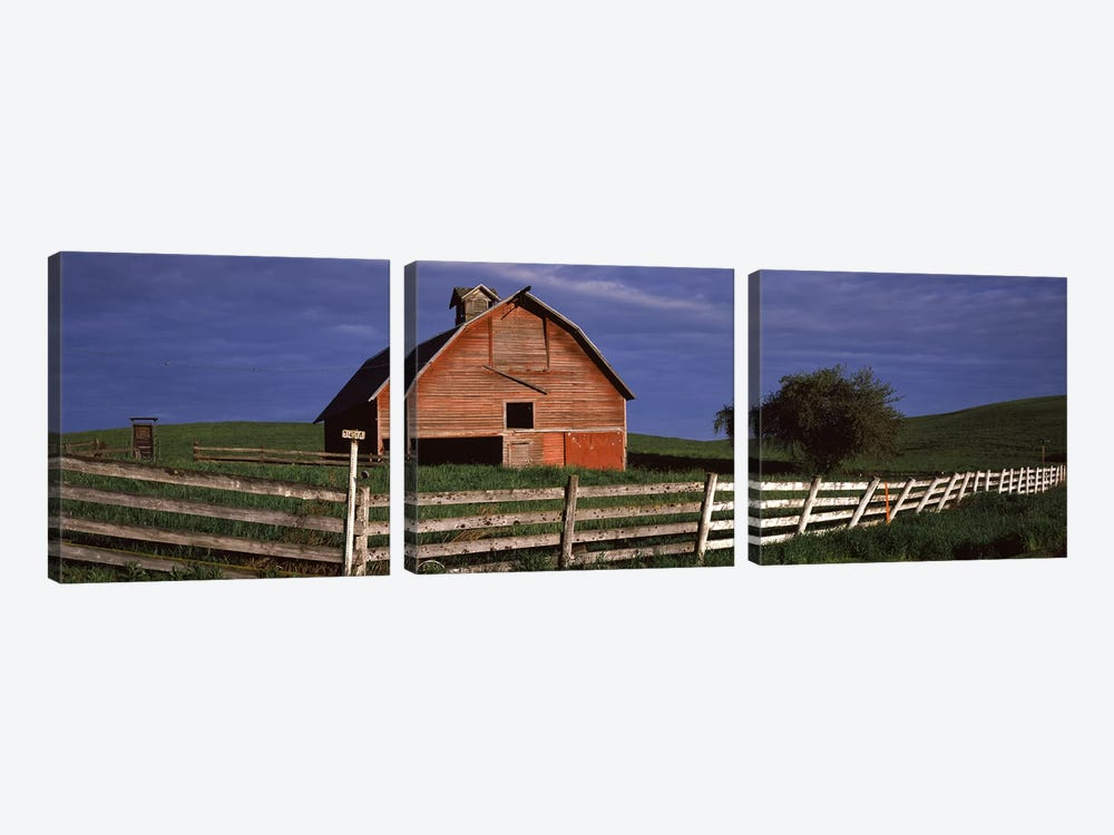 Old barn with a fence in a field, Palouse, Whitman County, Washington State, USA by Panoramic Images 3-piece Canvas Artwork