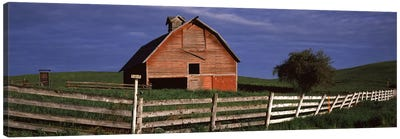 Old barn with a fence in a field, Palouse, Whitman County, Washington State, USA Canvas Art Print