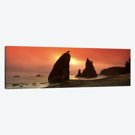 Silhouette of seastacks at sunset, Olympic National Park, Washington State, USA Canvas Print #PIM7534} by Panoramic Images Canvas Artwork