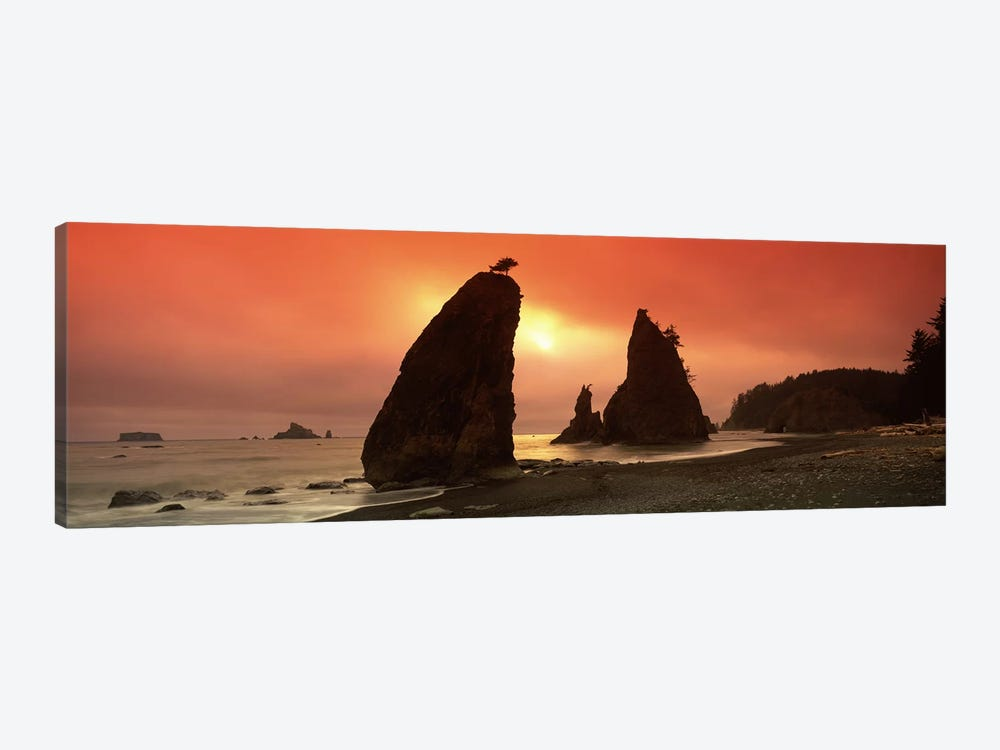 Silhouette of seastacks at sunset, Olympic National Park, Washington State, USA by Panoramic Images 1-piece Canvas Print