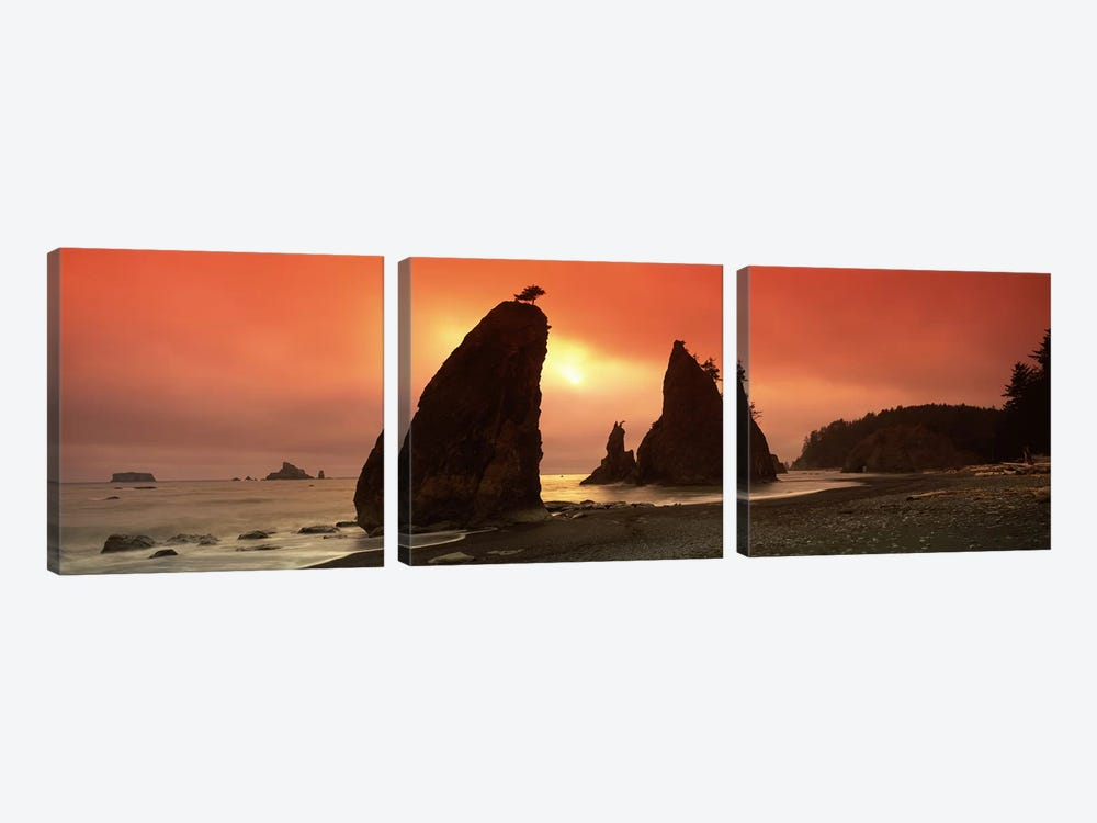 Silhouette of seastacks at sunset, Olympic National Park, Washington State, USA by Panoramic Images 3-piece Art Print