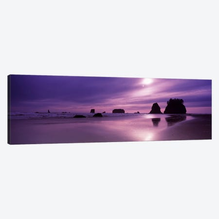 Silhouette of seastacks at sunset, Second Beach, Washington State, USA Canvas Print #PIM7535} by Panoramic Images Canvas Artwork