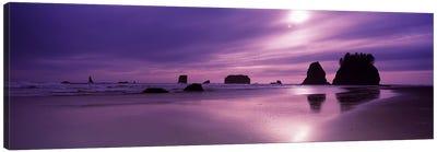 Silhouette of seastacks at sunset, Second Beach, Washington State, USA Canvas Print #PIM7535
