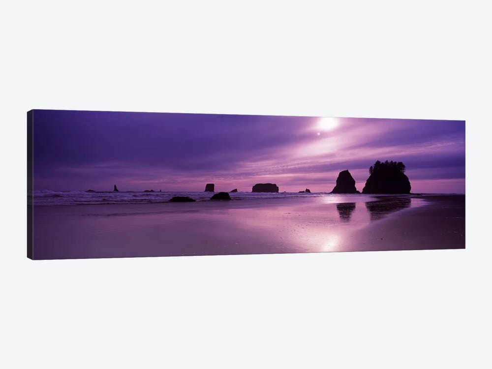 Silhouette of seastacks at sunset, Second Beach, Washington State, USA 1-piece Canvas Artwork
