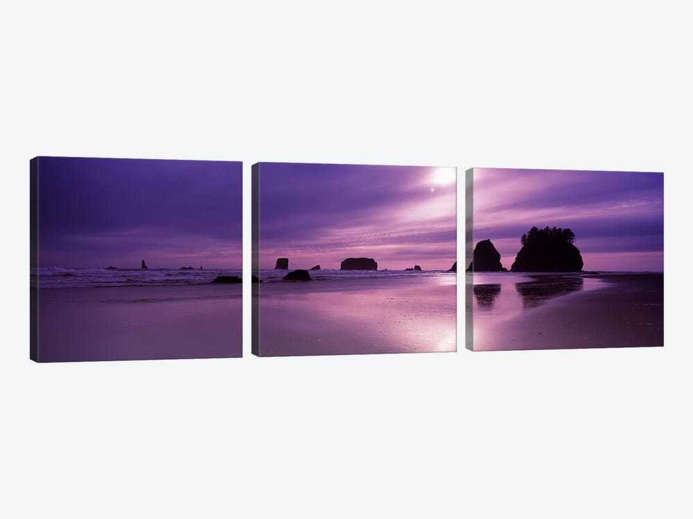Silhouette of seastacks at sunset, Second Beach, Washington State, USA 3-piece Canvas Artwork