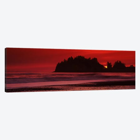 Silhouette of seastacks at sunset, Second Beach, Washington State, USA #2 Canvas Print #PIM7536} by Panoramic Images Canvas Artwork