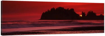 Silhouette of seastacks at sunset, Second Beach, Washington State, USA #2 Canvas Art Print