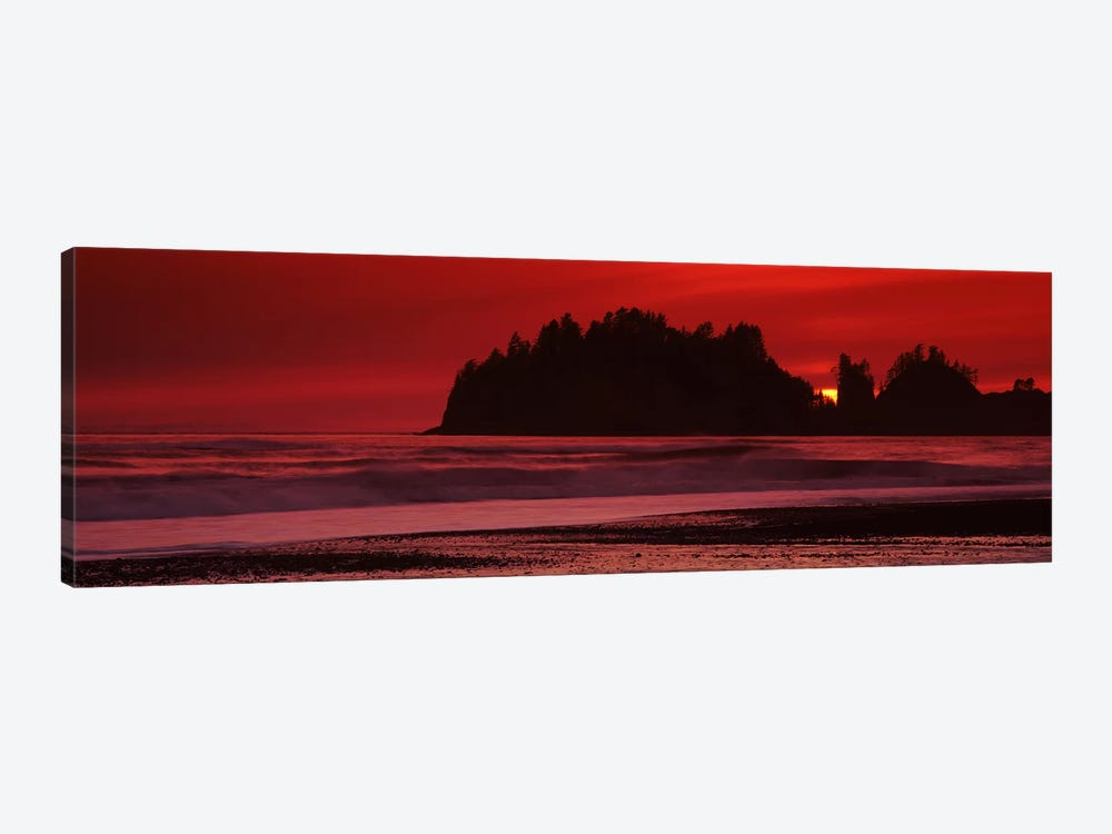 Silhouette of seastacks at sunset, Second Beach, Washington State, USA #2 by Panoramic Images 1-piece Art Print
