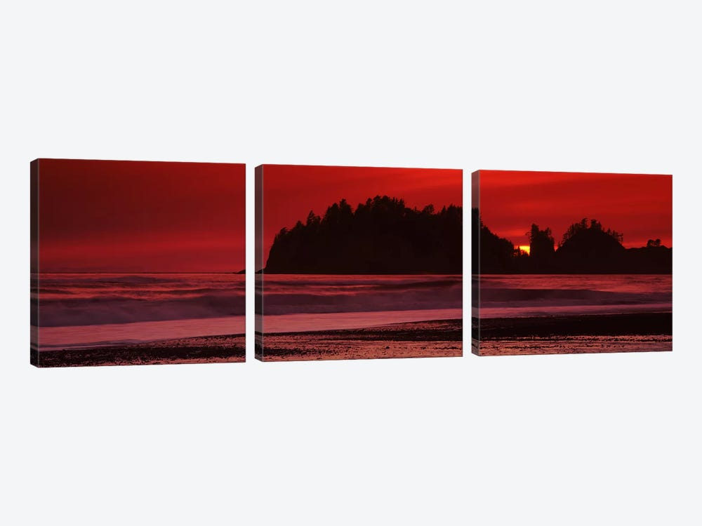 Silhouette of seastacks at sunset, Second Beach, Washington State, USA #2 3-piece Art Print