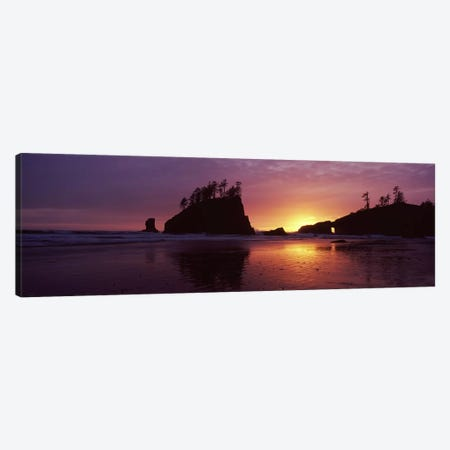 Silhouette of seastacks at sunset, Second Beach, Washington State, USA #3 Canvas Print #PIM7537} by Panoramic Images Canvas Artwork