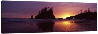 Silhouette of seastacks at sunset, Second Beach, Washington State, USA #3 Canvas Art Print