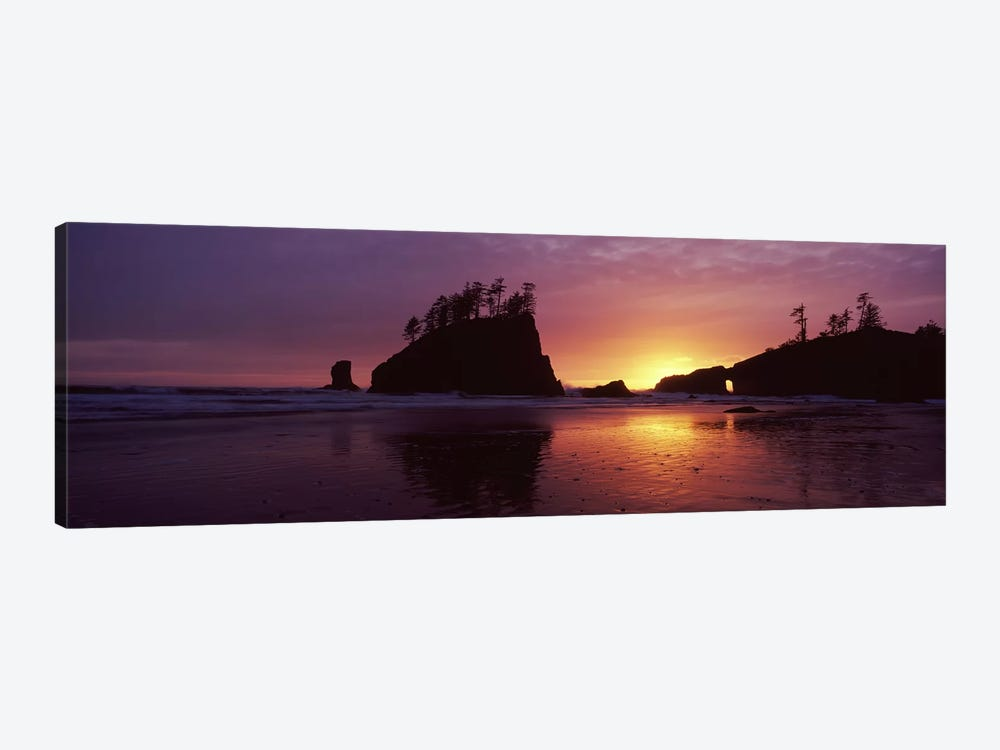Silhouette of seastacks at sunset, Second Beach, Washington State, USA #3 by Panoramic Images 1-piece Canvas Wall Art