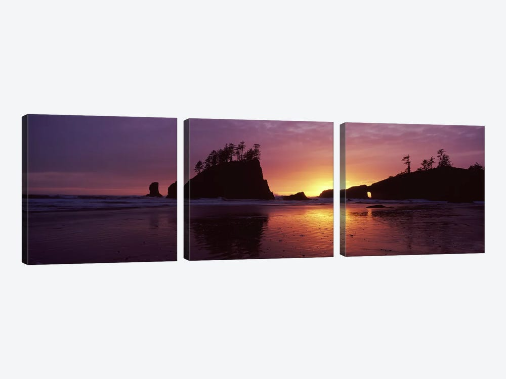 Silhouette of seastacks at sunset, Second Beach, Washington State, USA #3 by Panoramic Images 3-piece Canvas Wall Art