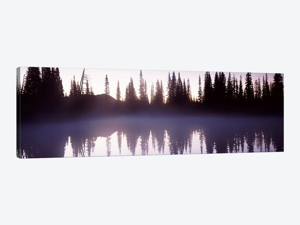 Reflection of trees in a lake, Mt Rainier, Pierce County, Washington State, USA by Panoramic Images 1-piece Canvas Print