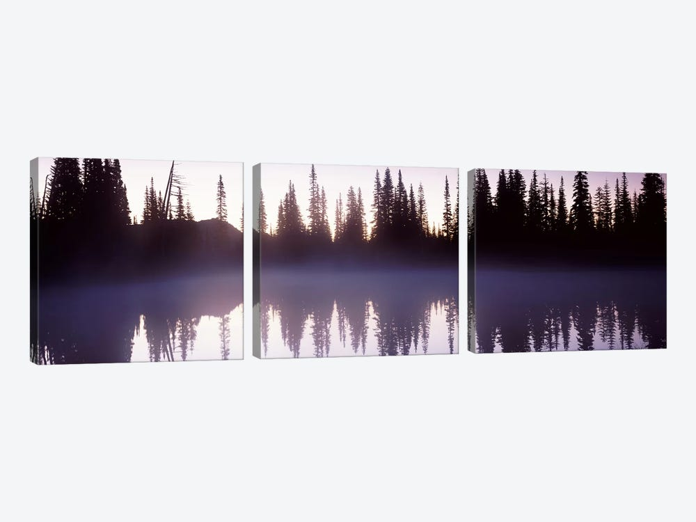 Reflection of trees in a lake, Mt Rainier, Pierce County, Washington State, USA by Panoramic Images 3-piece Canvas Art Print