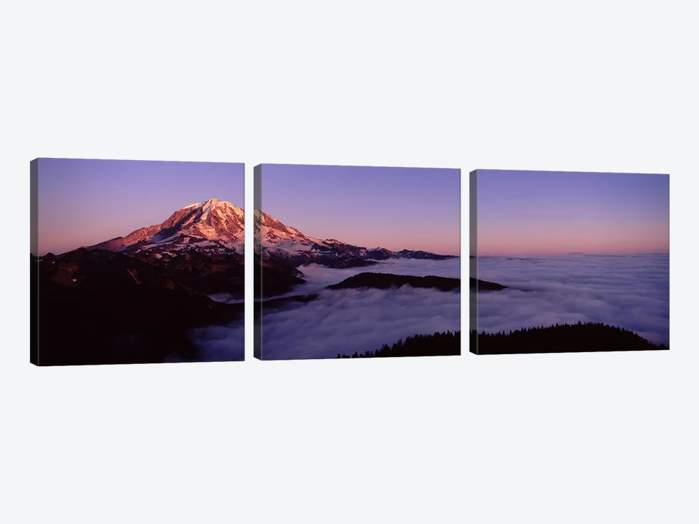 Sea of clouds with mountains in the background, Mt Rainier, Pierce County, Washington State, USA by Panoramic Images 3-piece Canvas Wall Art
