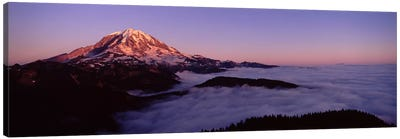 Sea of clouds with mountains in the background, Mt Rainier, Pierce County, Washington State, USA Canvas Art Print