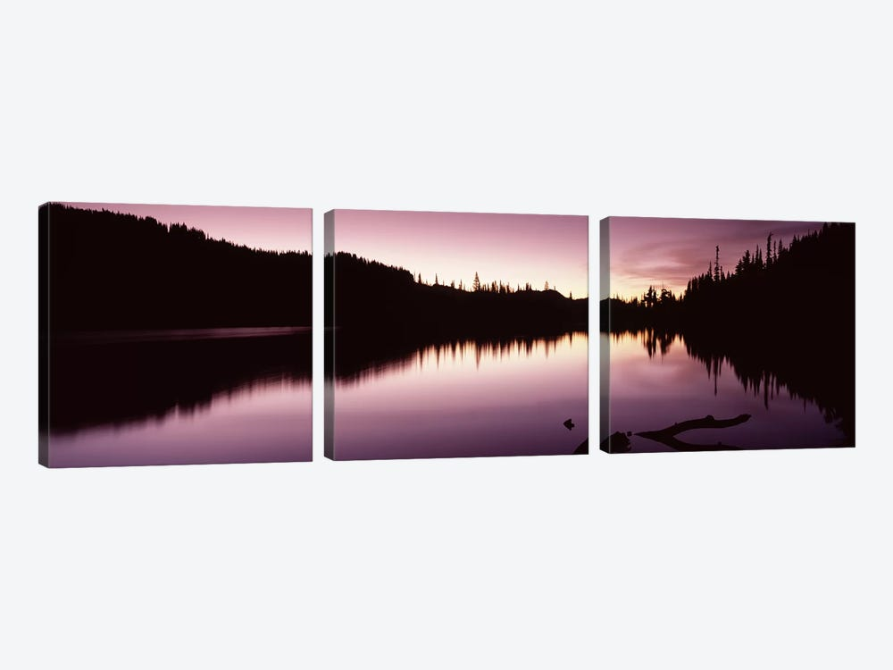 Reflection of trees in a lake, Mt Rainier, Pierce County, Washington State, USA #2 by Panoramic Images 3-piece Canvas Print