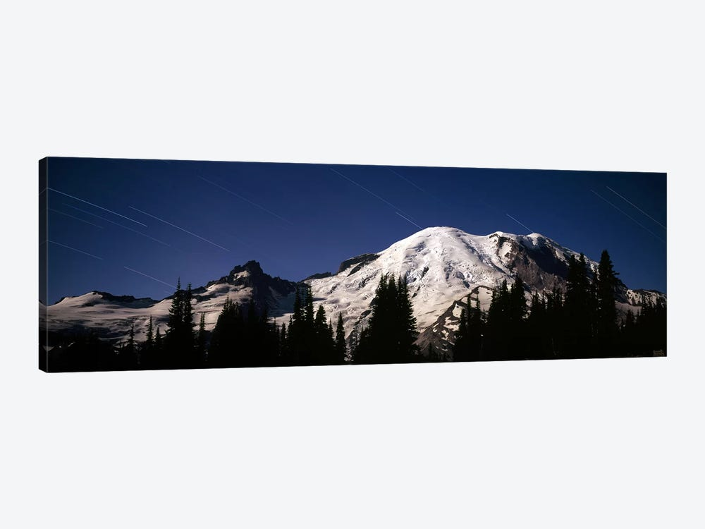 Star trails over mountains, Mt Rainier, Washington State, USA by Panoramic Images 1-piece Canvas Wall Art