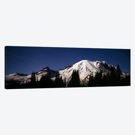 Star trails over mountains, Mt Rainier, Washington State, USA Canvas Print #PIM7542} by Panoramic Images Canvas Wall Art
