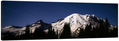 Star trails over mountains, Mt Rainier, Washington State, USA Canvas Art Print