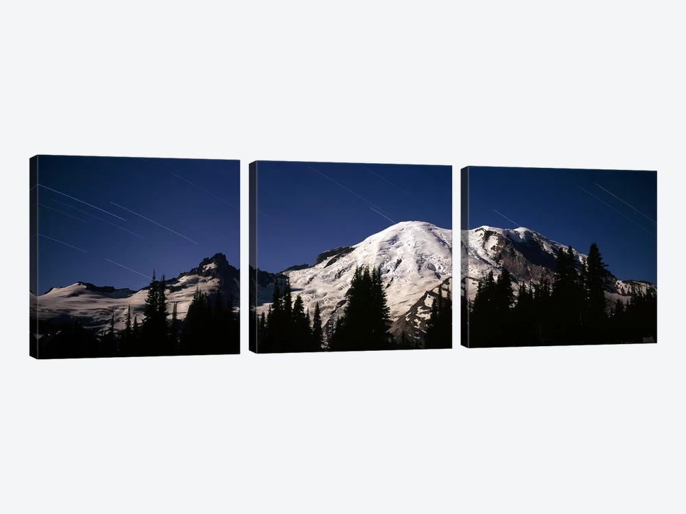 Star trails over mountains, Mt Rainier, Washington State, USA by Panoramic Images 3-piece Canvas Artwork
