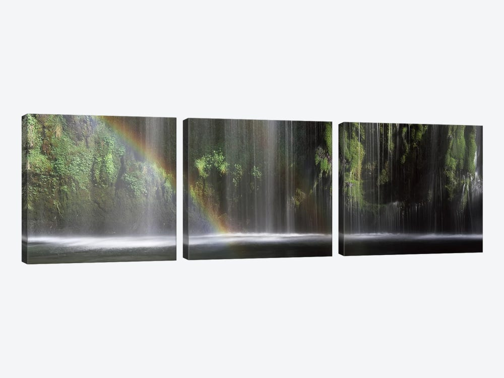 A Waterfall's Rainbow, Mossrbrae Falls, Dunsmuir, Siskiyou County, California, USA by Panoramic Images 3-piece Canvas Art