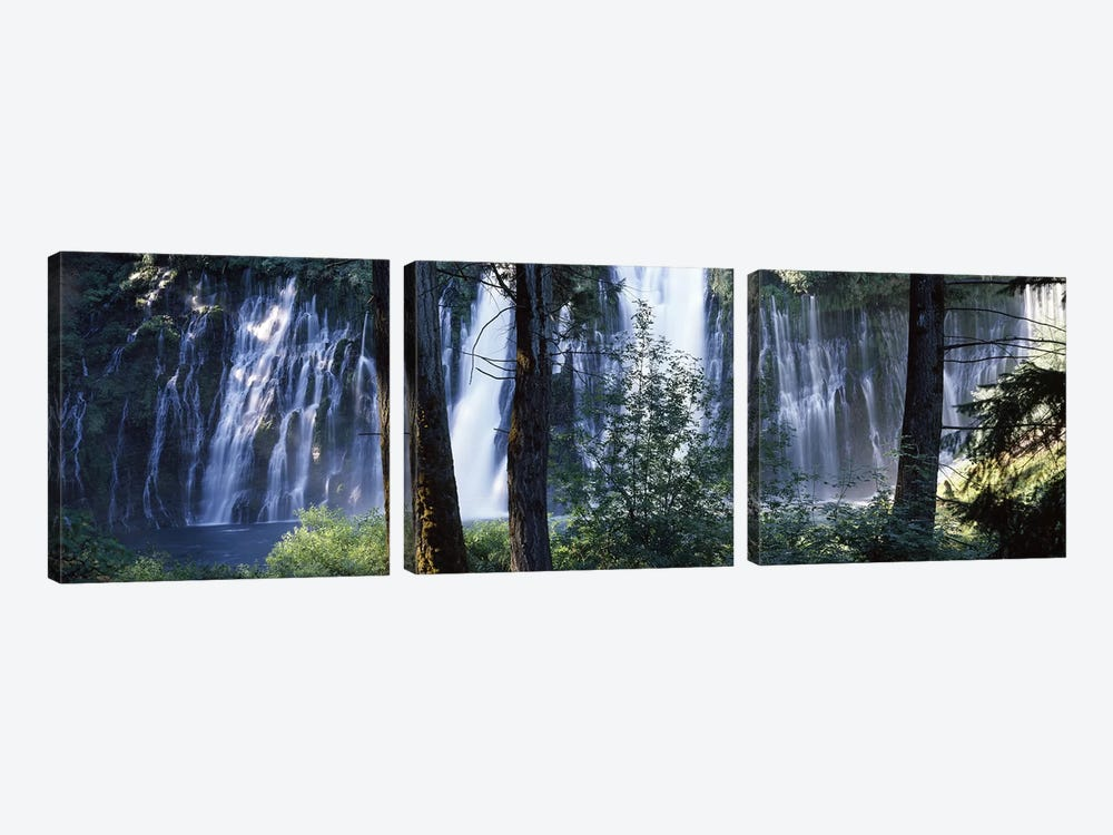 Burney Falls As Seen Through A Forest Landscape, McArthur-Burney Falls Memorial State Park, California, USA 3-piece Canvas Art Print