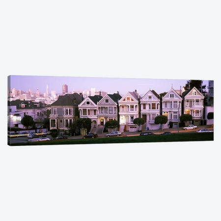 Row houses in a city, Postcard Row, The Seven Sisters, Painted Ladies, Alamo Square, San Francisco, California, USA Canvas Print #PIM7559} by Panoramic Images Canvas Print