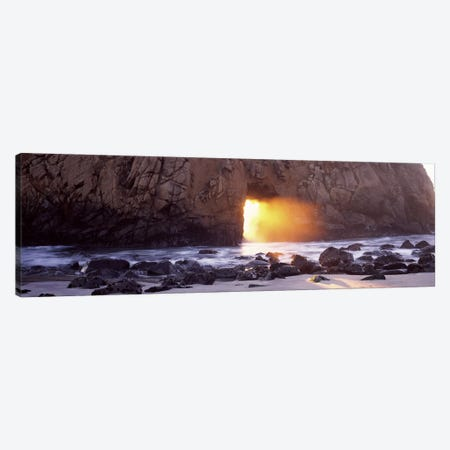 Setting Sun Bursting Through Keyhole Arch, Pfeiffer Beach, Big Sur, California, USA Canvas Print #PIM7564} by Panoramic Images Art Print