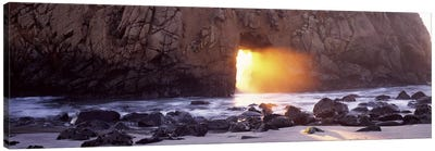 Setting Sun Bursting Through Keyhole Arch, Pfeiffer Beach, Big Sur, California, USA Canvas Print #PIM7564