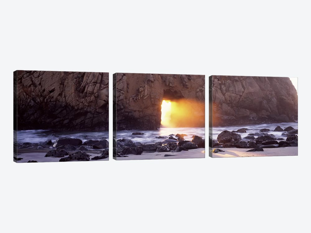 Setting Sun Bursting Through Keyhole Arch, Pfeiffer Beach, Big Sur, California, USA by Panoramic Images 3-piece Canvas Wall Art