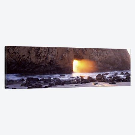 Setting Sun Bursting Through Keyhole Arch, Pfeiffer Beach, Big Sur, California, USA Canvas Print #PIM7564} by Panoramic Images Art Print