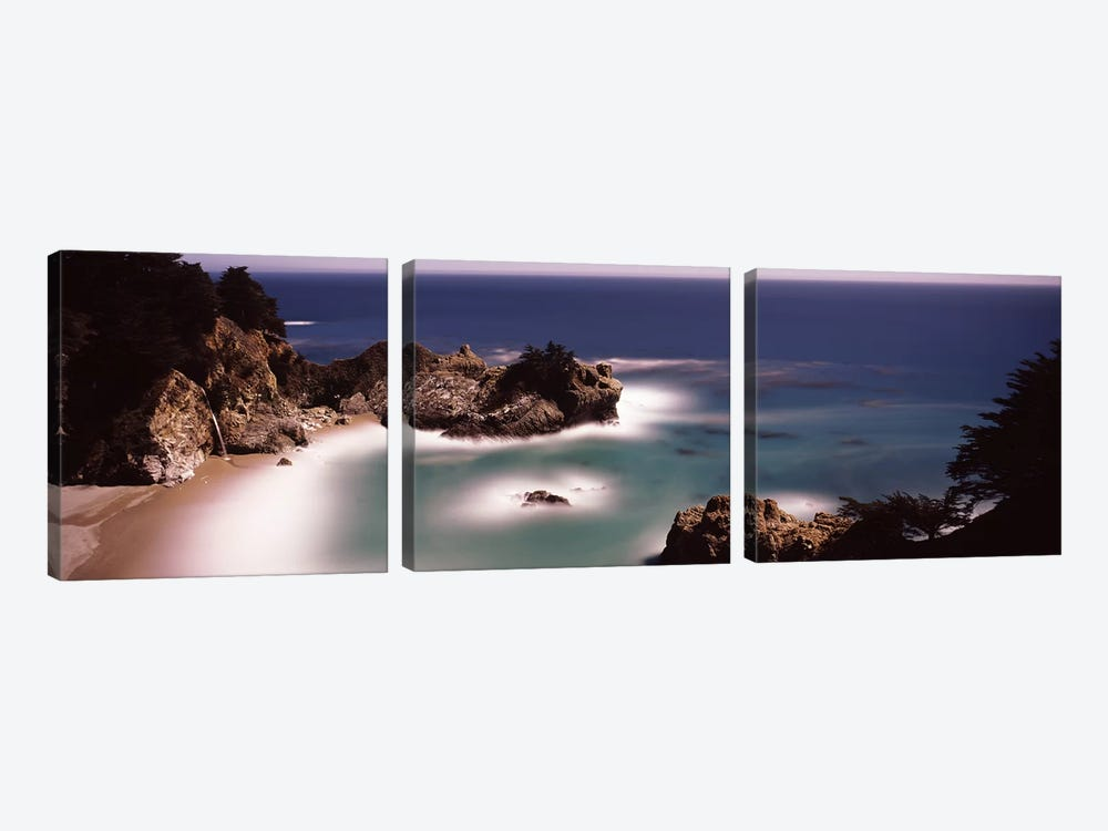 High-Angle View Of McWay Cove & McWay Falls, Julia Pfeiffer Burns State Park, Monterey County, California, USA by Panoramic Images 3-piece Canvas Print