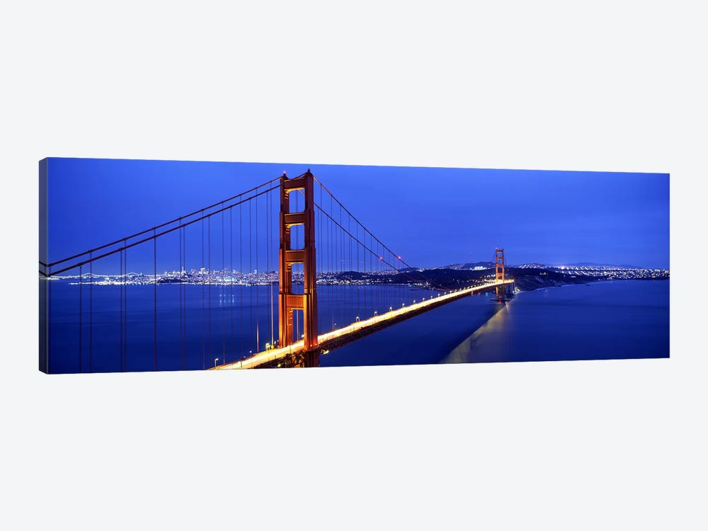 Suspension bridge lit up at duskGolden Gate Bridge, San Francisco, California, USA by Panoramic Images 1-piece Canvas Art