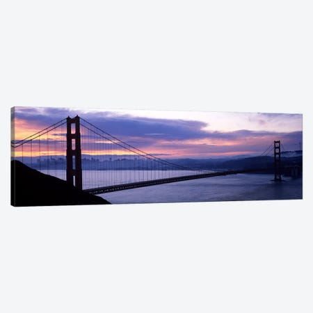 Silhouette of a suspension bridge at dusk, Golden Gate Bridge, San Francisco, California, USA Canvas Print #PIM7574} by Panoramic Images Canvas Wall Art