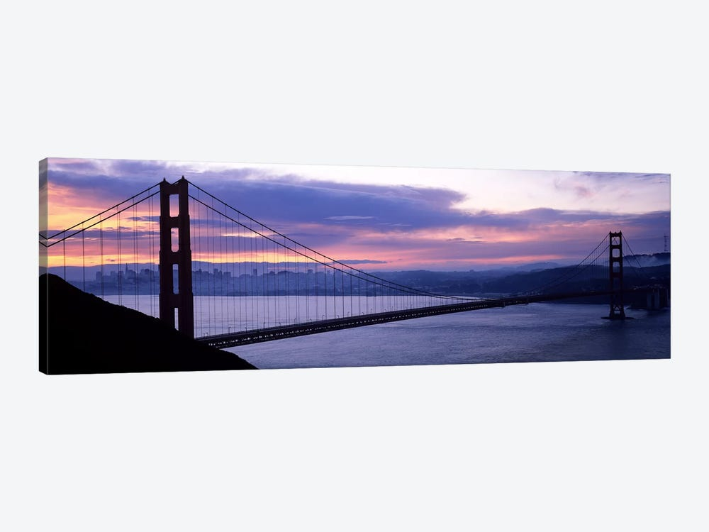 Silhouette of a suspension bridge at dusk, Golden Gate Bridge, San Francisco, California, USA by Panoramic Images 1-piece Canvas Print