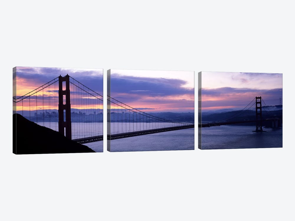 Silhouette of a suspension bridge at dusk, Golden Gate Bridge, San Francisco, California, USA by Panoramic Images 3-piece Art Print