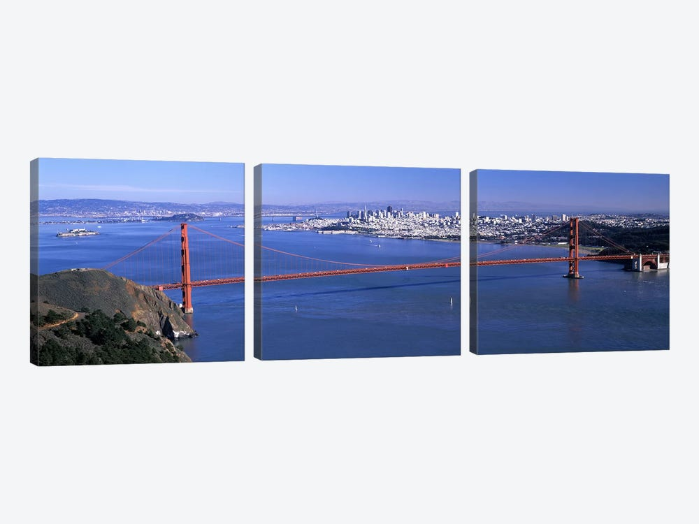 High angle view of a suspension bridge, Golden Gate Bridge, San Francisco, California, USA #4 by Panoramic Images 3-piece Canvas Art Print