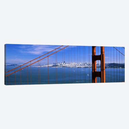 Suspension bridge with a city in the background, Golden Gate Bridge, San Francisco, California, USA Canvas Print #PIM7577} by Panoramic Images Canvas Artwork
