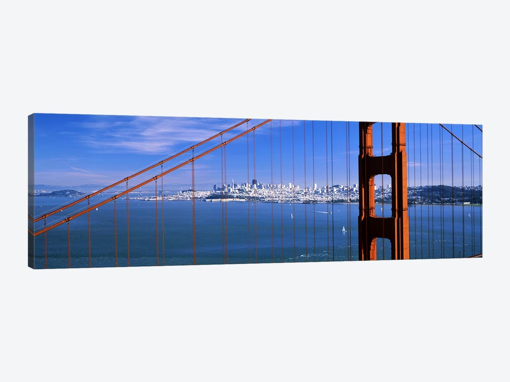 Suspension bridge with a city in the background, Golden Gate Bridge, San Francisco, California, USA 1-piece Canvas Wall Art