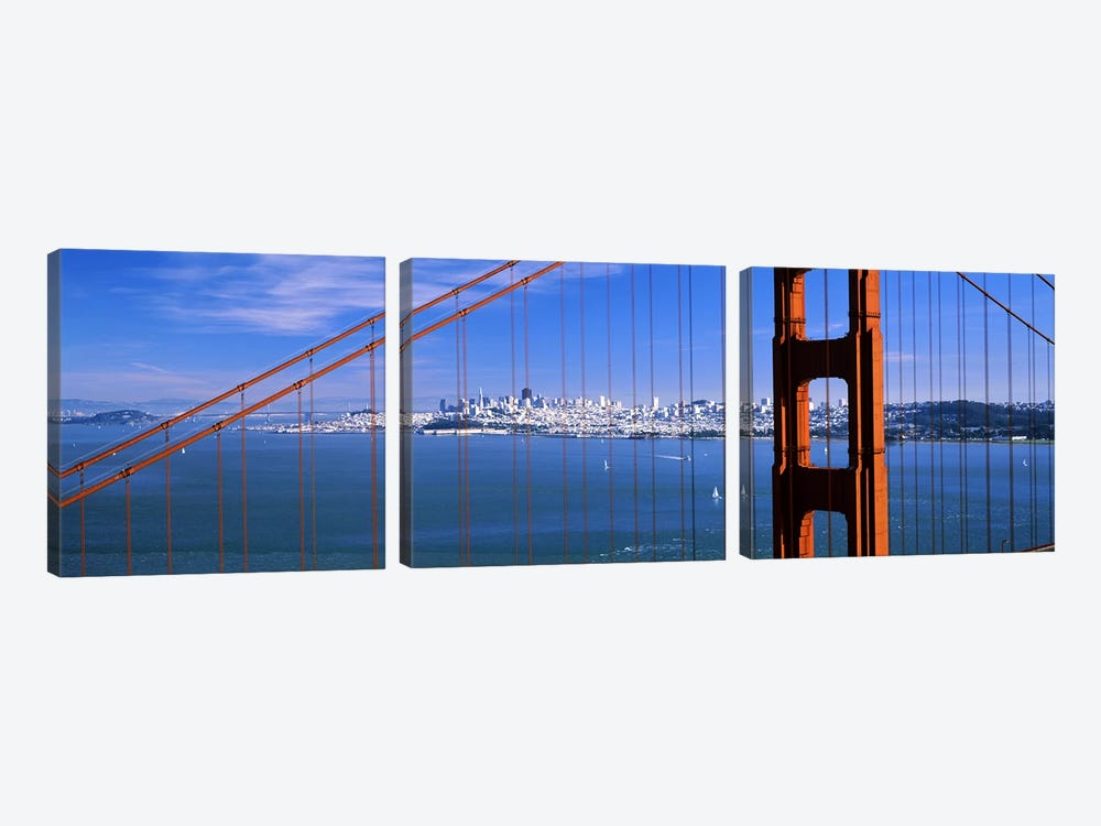 Suspension bridge with a city in the background, Golden Gate Bridge, San Francisco, California, USA 3-piece Canvas Art