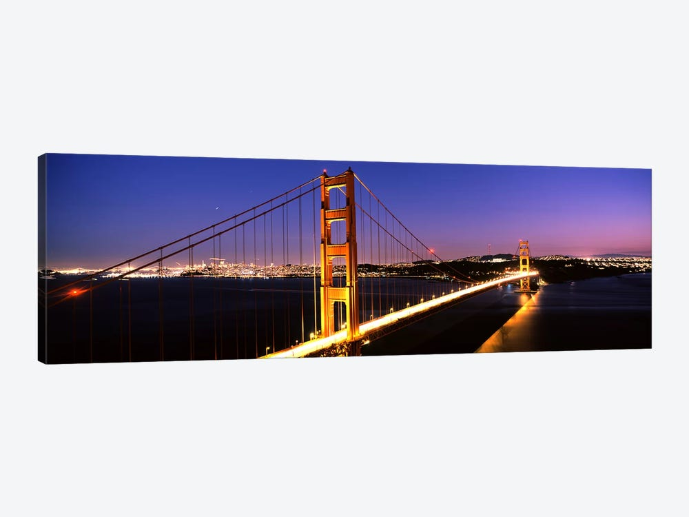 Suspension bridge lit up at dusk, Golden Gate Bridge, San Francisco, California, USA by Panoramic Images 1-piece Canvas Art Print