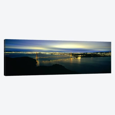 Suspension bridge lit up at dusk, Golden Gate Bridge, San Francisco Bay, San Francisco, California, USA #2 Canvas Print #PIM7579} by Panoramic Images Canvas Print