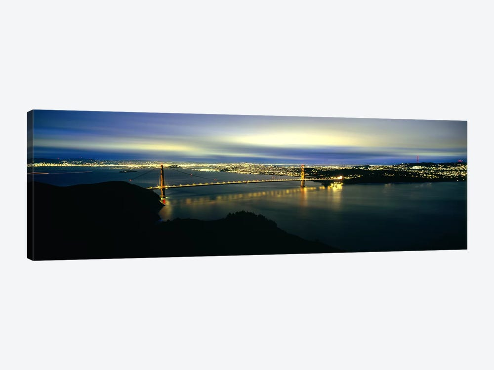 Suspension bridge lit up at dusk, Golden Gate Bridge, San Francisco Bay, San Francisco, California, USA #2 by Panoramic Images 1-piece Canvas Artwork