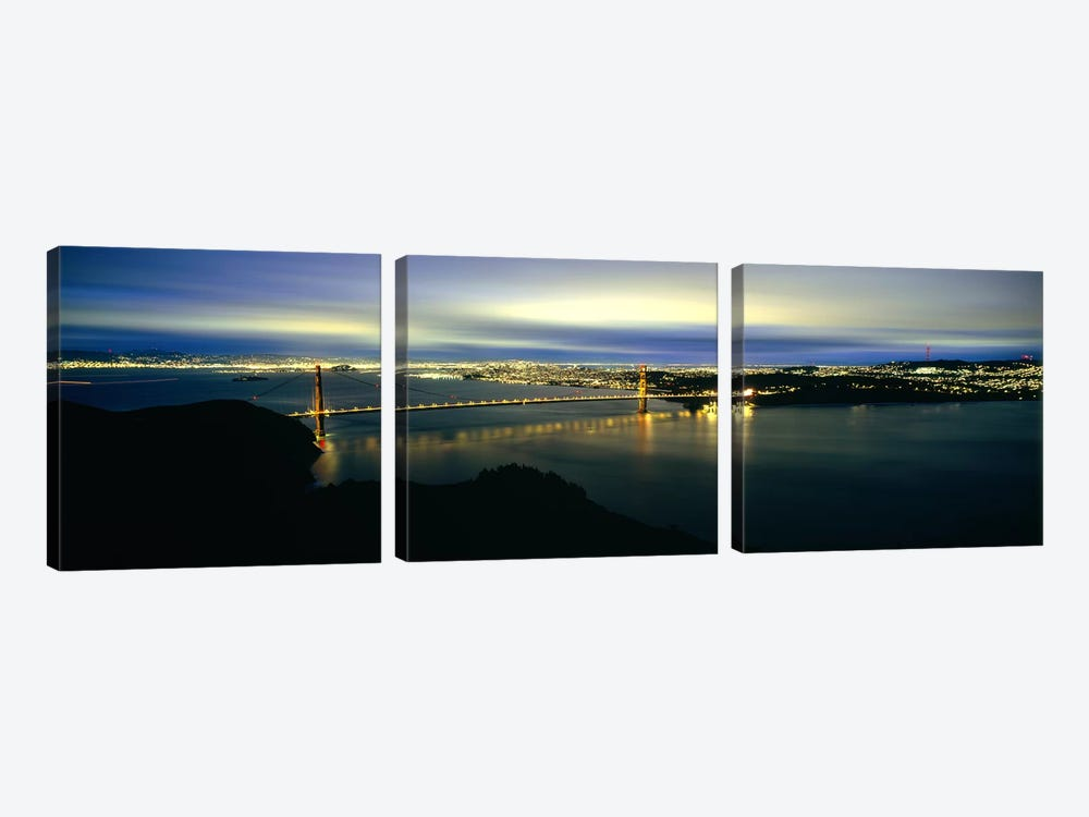 Suspension bridge lit up at dusk, Golden Gate Bridge, San Francisco Bay, San Francisco, California, USA #2 by Panoramic Images 3-piece Canvas Artwork