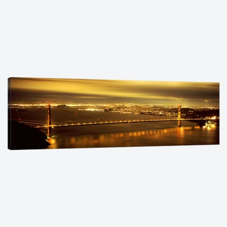 Suspension bridge lit up at dusk, Golden Gate Bridge, San Francisco, California, USA Canvas Print #PIM7580} by Panoramic Images Canvas Artwork