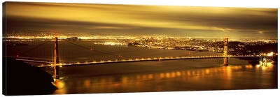 Suspension bridge lit up at dusk, Golden Gate Bridge, San Francisco, California, USA Canvas Print #PIM7580