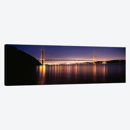 Suspension bridge lit up at dusk, Golden Gate Bridge, San Francisco Bay, San Francisco, California, USA #3 Canvas Print #PIM7581} by Panoramic Images Canvas Wall Art