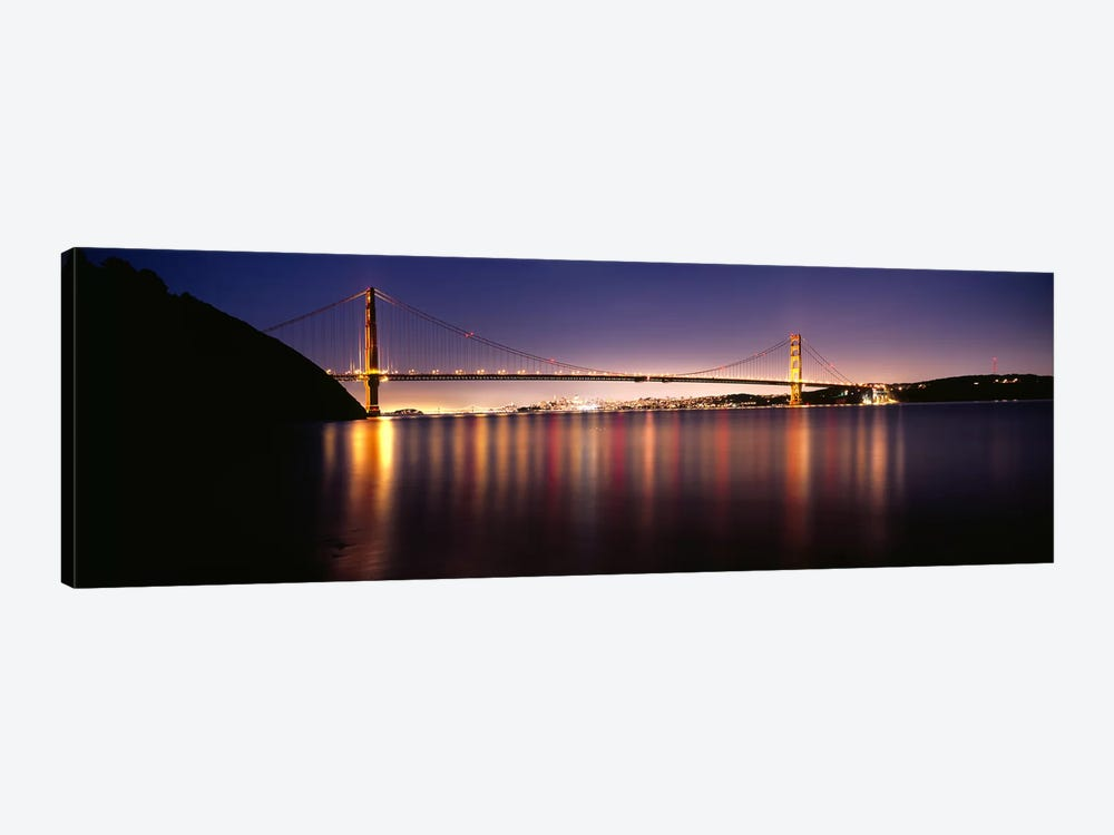 Suspension bridge lit up at dusk, Golden Gate Bridge, San Francisco Bay, San Francisco, California, USA #3 1-piece Canvas Art Print